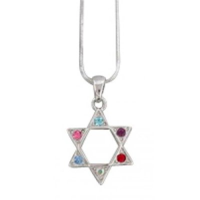 Star of David Necklace - Colored Stones