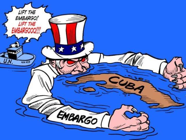 Sobre el embargo a Cuba - Tirita por Latuff (2007)