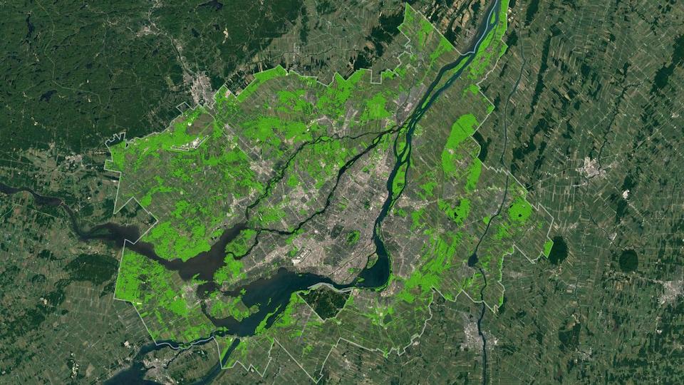 Carte des milieux naturels de la Communauté métropolitaine de Montréal.