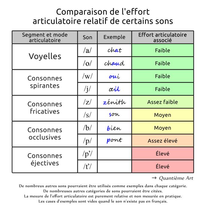Comparaison de l'effort articulatoire relatif de certains sons