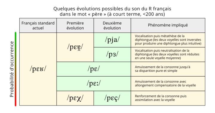 """Tableau d'évolutions possibles du son R en français dans le mot """"père"""""""