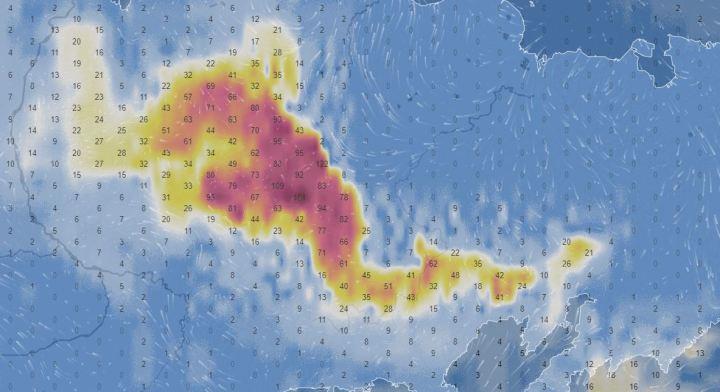 Carte radar des incendies en Sibérie le 24 juin 2020.