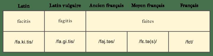 """Proposition d'évolution du latin """"facitis"""" au français """"faites""""."""