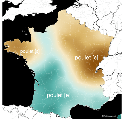 "Carte de la distinction de prononciation du mot ""poulet"" en France."