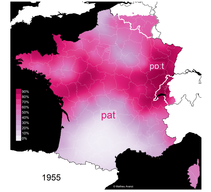 "Carte de la distinction de prononciation des mots ""patte"" et ""pâte"" en France en 1955"