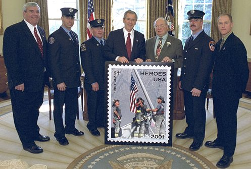 Bush and others at stamp unveiling