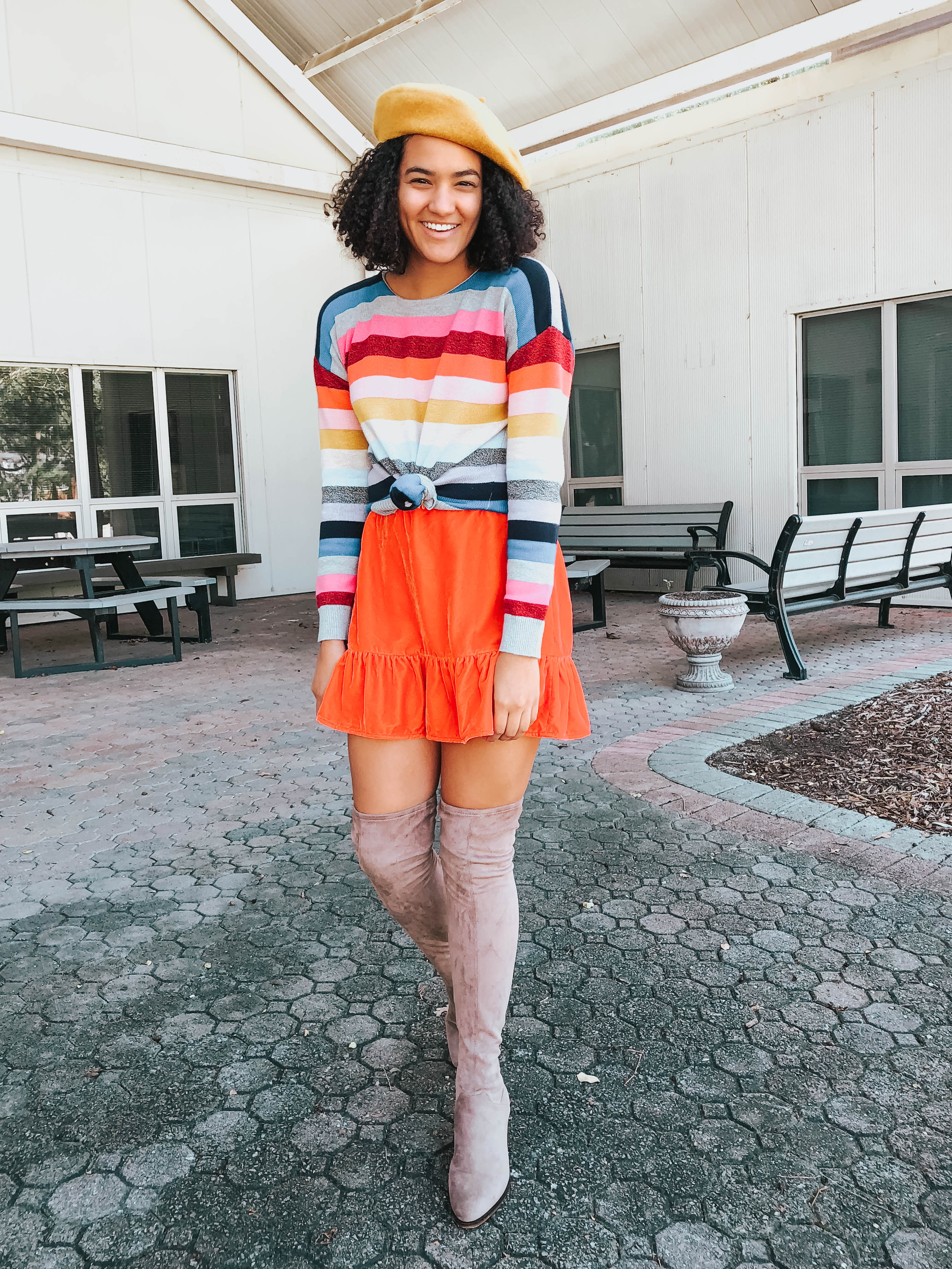 rainbow-sweater-over-the-knee-boots