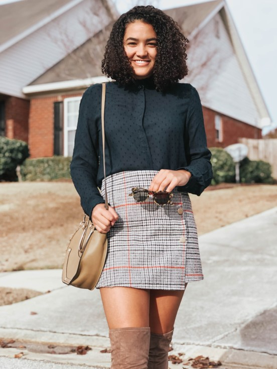 navy-blue-top-plaid-skirt-twenty-winter-outfit-ideas