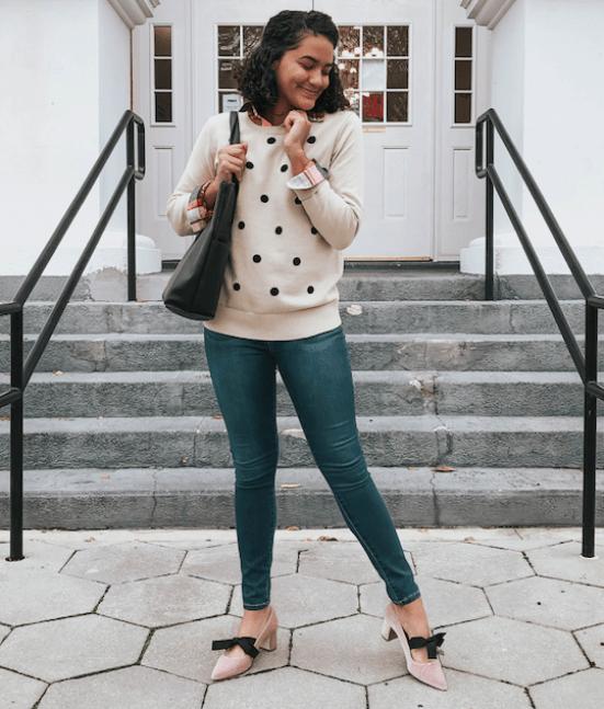 polka-dot-sweater-twenty-winter-outfit-ideas