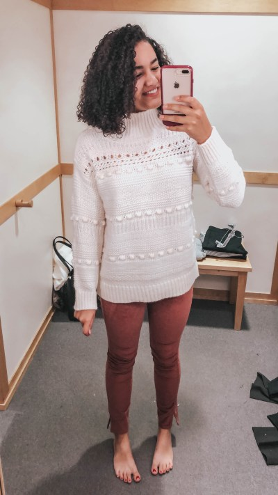 white-turtleneck-sweater-red-velvet-pants-loft