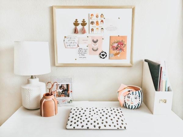 White Desk with DIY Gold Framed Cork Board Above It