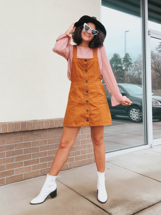 Orange Overall Dress Valentine's Day Outfit Ideas