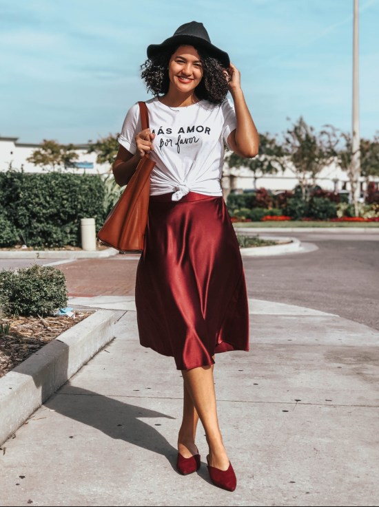 Red Satin Midi Skirt and White Tee Valentine's Day Outfit Ideas