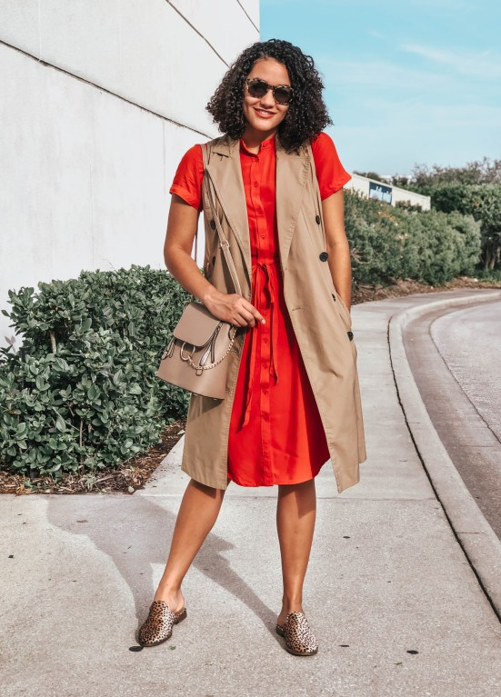 Red Midi Dress and Trench Vest Valentine's Day Outfit Ideas