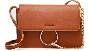 Brown and Gold Ring Leather Crossbody Bag Spring and Summer Handbags Under Fifty Dollars