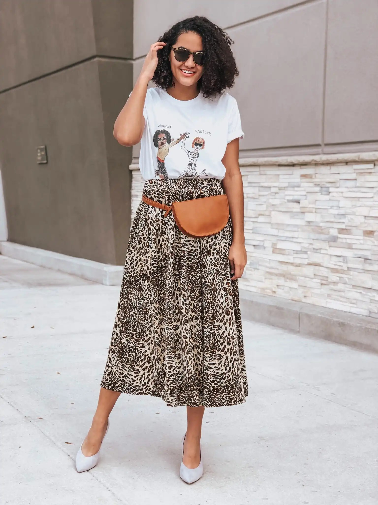 Graphic Tee Leopard Print Skirt Purple Heels