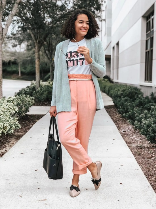 Mint Green Cardigan and Pink Ruffle Pants