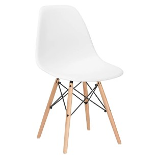 White Modern Desk Chair with Wooden Legs