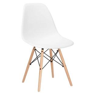White Modern Desk Chair with Wooden Legs