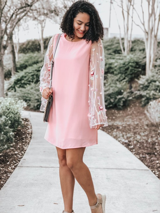 Pink Shift Dress with 3D Embellished Sleeves and Flatform Espadrille Sandals