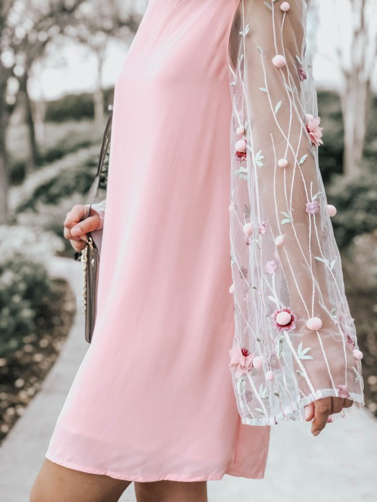 Pink Shift Dress with 3D Embellished Sleeves