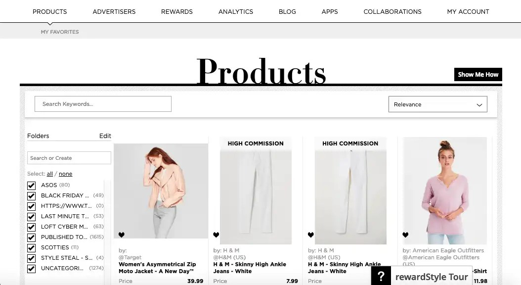 Products Section on RewardStyle Post