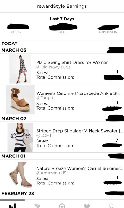 Earnings Section of RewardStyle App