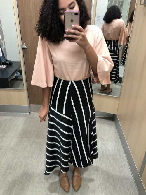 Pink Flutter Sleeve Blouse and a Striped Asymmetrical Skirt Target Try-On Haul