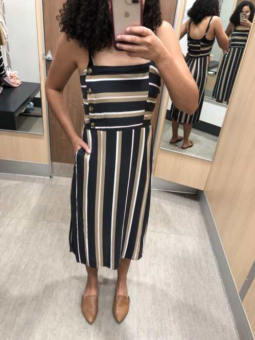 Striped Midi Dress with Tortoiseshell Buttons Target Try-On Haul