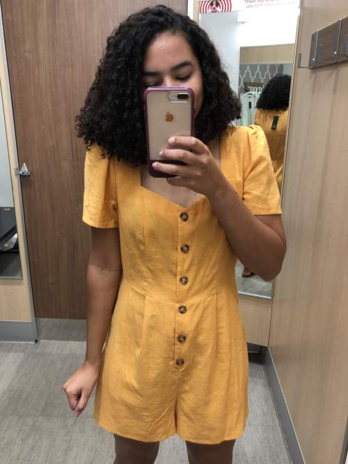 a297143cac Yellow Romper with Tortoiseshell Buttons Target Try-On Haul