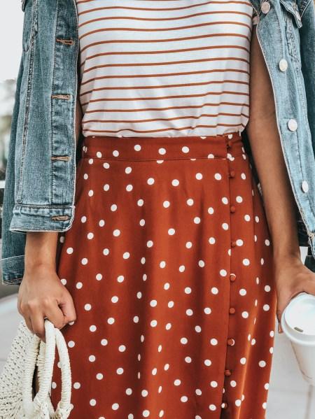 Striped Tee, Polka Dot Maxi Skirt, Woven Handbag, Denim Jean Jacket.