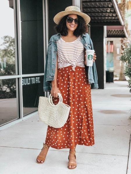 Striped Tee, Polka Dot Maxi Skirt, Woven Handbag, Straw Boater Hat, Denim Jean Jacket.