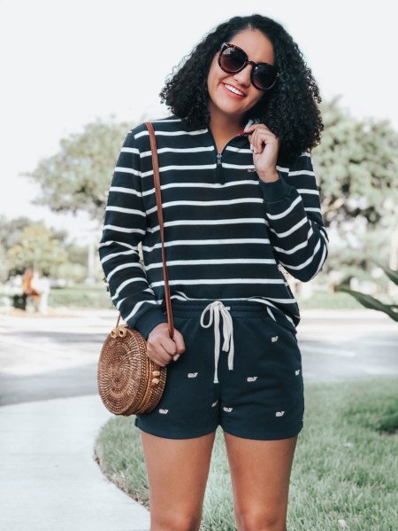 Striped Pullover, Whale Print Shorts, Round Rattan Bag, Sunglasses