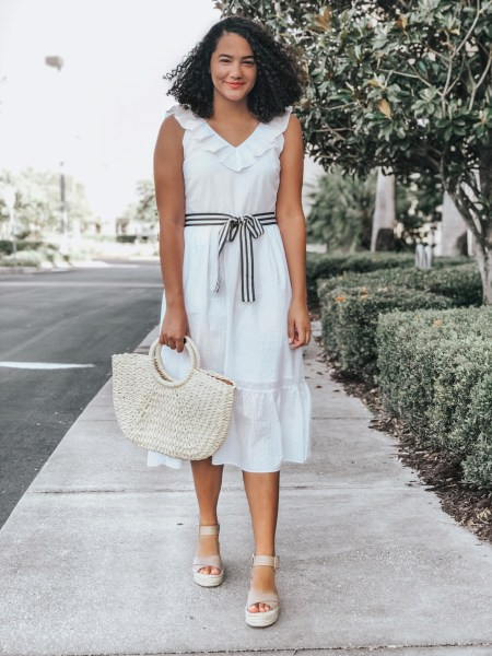 White Ruffle Dress with Striped Tie Belt