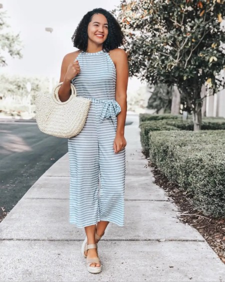 Blue and White Striped Romper from Amazon, Woven bag, Taupe Espadrille Sandals from Sole Society