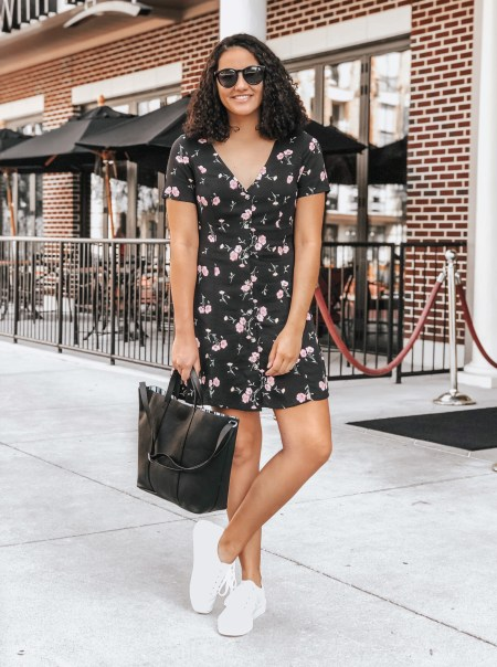 Floral Dress, White Platform Sneakers, Black Tote Bag, Black Sunglasses