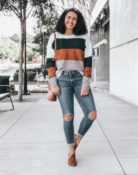 Striped Sweater, Busted Knee Jeans, Cognac Booties, Colorblocked Headband
