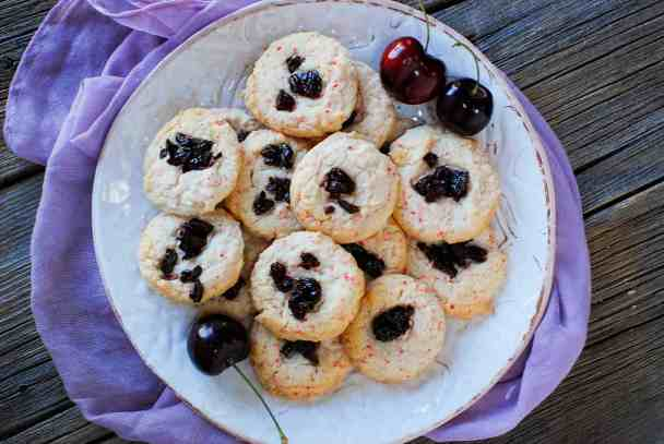 Cherry Chip Cake Mix Cookies & sour cherries2