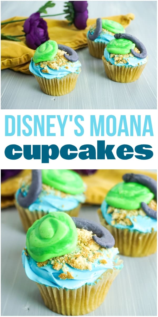 photo collage of moana cupcakes on a grey background with yellow linen and purple flower in the background with text which reads disney's moana cupcakes