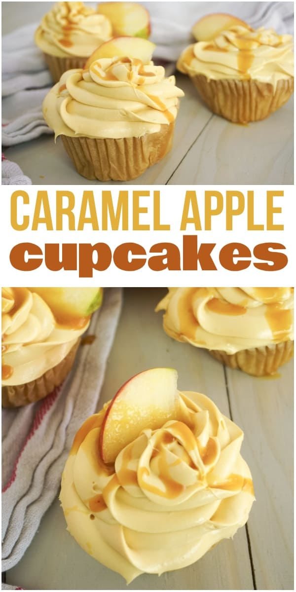 photo collage of caramel cupcakes with text which reads caramel apple cupcakes