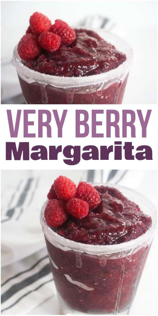 a collage of a mixed berry margarita topped with raspberries in a glass rimmed with sugar on a white wood table with a white linen in the background with title text reading Very Berry Margarita