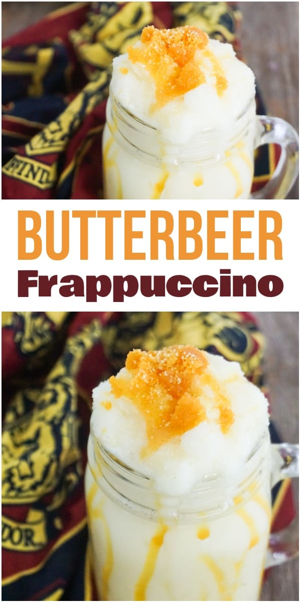 photo collage of butterbeer frappuccino with harry potter linen on a wood background