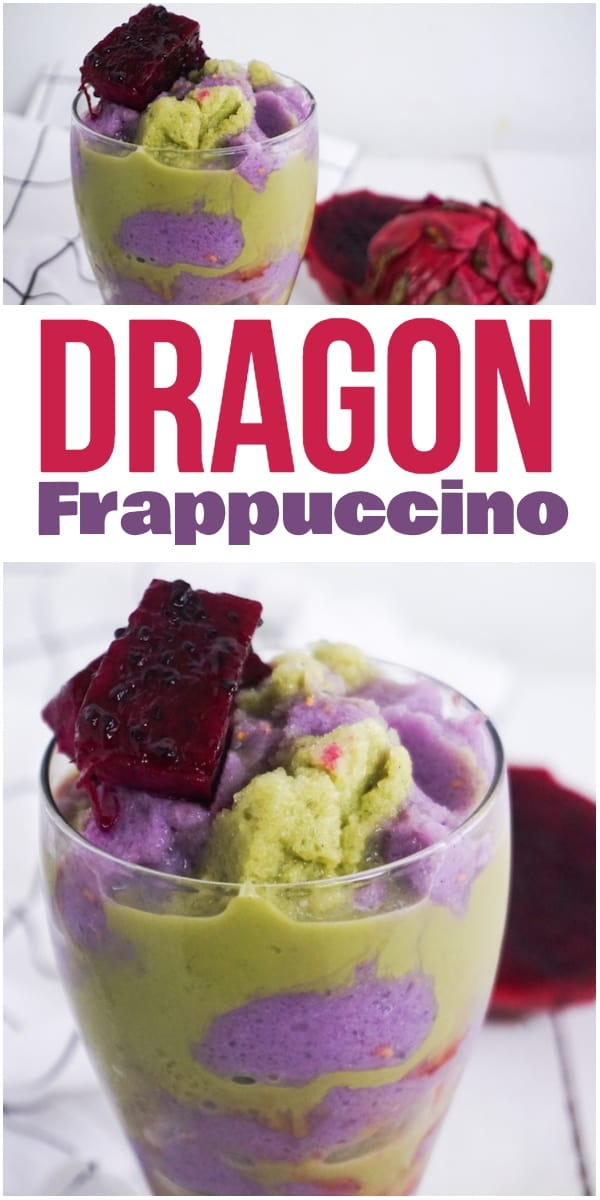 photo collage of purple and green frappuccino with text which reads dragon frappuccino