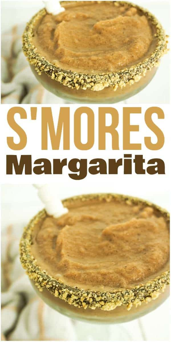 a collage of closeup of s'mores margarita in glass rimmed with chocolate and graham cracker crumbs, with title text reading S'mores Margarita
