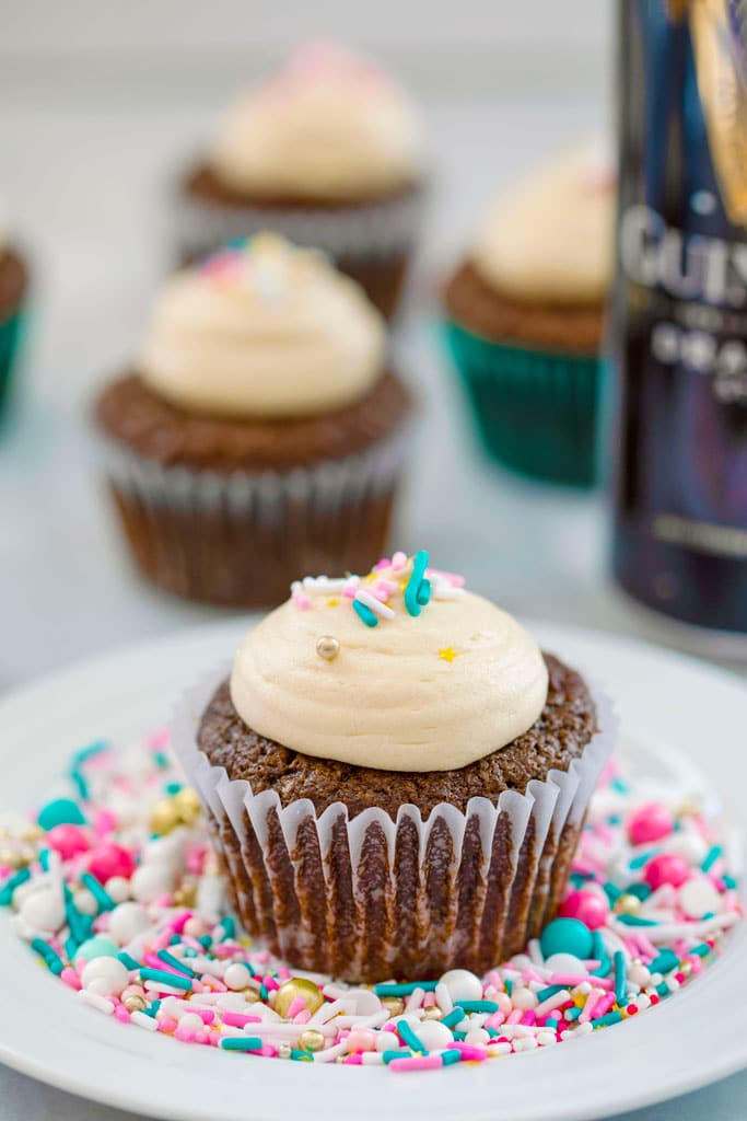 Chocolate Stout Cupcakes with Irish Whiskey Filling