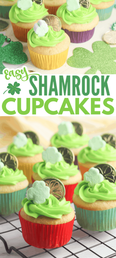 a collage of white cupcakes decorated with green frosting, a shamrock marshmallow and gold coin, on a wood table with more shamrocks, gold coins, and green beads on it with title text reading Easy Shamrock Cupcakes