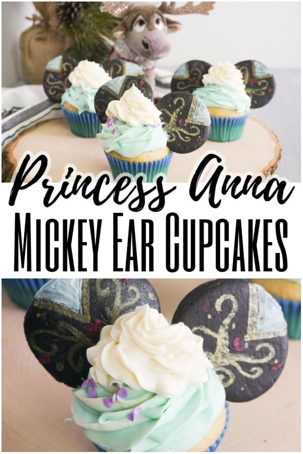 photo collage of cupcakes decorated with green ans white frosting and decorated cookies to look like Princess Anna Mickey Ears cupcakes on a log with title text reading Princess Anna Mickey Ear Cupcakes