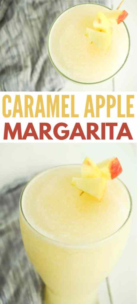 a collage of Caramel Apple Margarita in a glass with apple slices on a toothpick on the rim with title text reading Caramel Apple Margarita