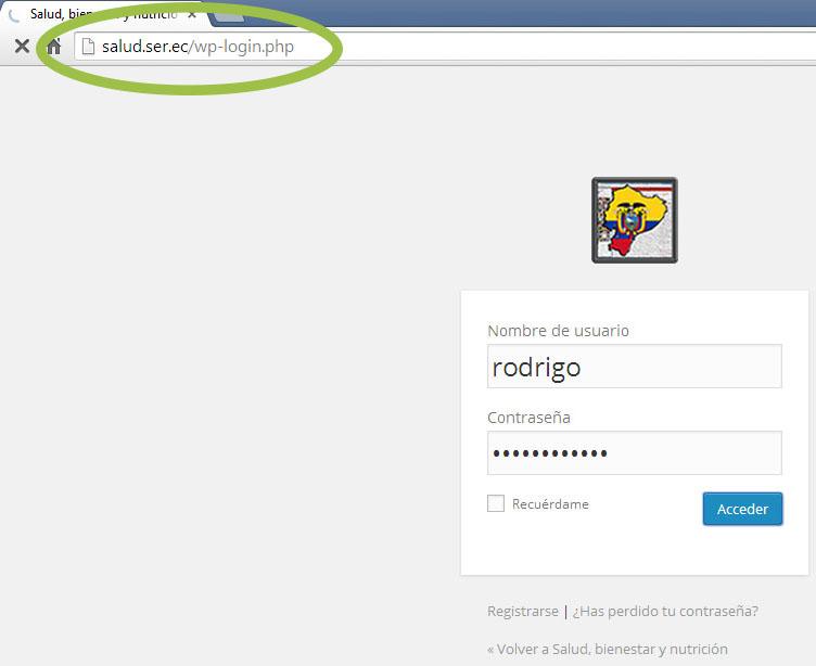 Ingreso a la parte administrativa del sitio web