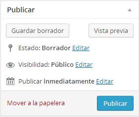 Opciones de publicar y vista previa en una entrada o página